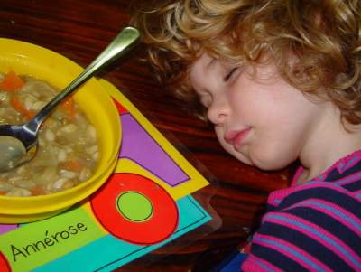 arrows asleep at her plate