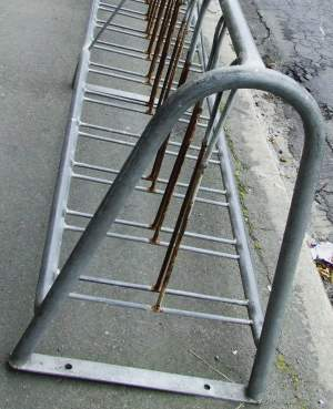 an unusually sensible bike rack at Oamaru