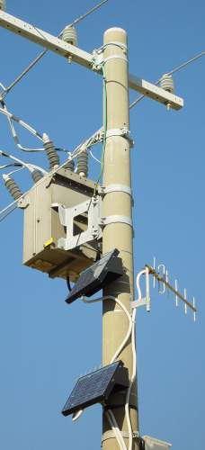 Power pole with solar panels