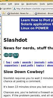 Screenshot of SlashDot telling me that I have minus 11 minutes to wait