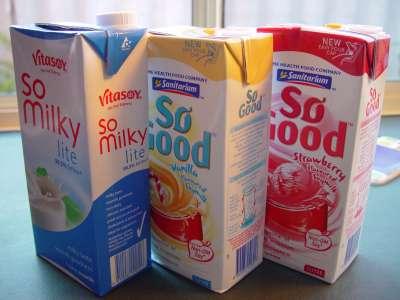 three milk cartons